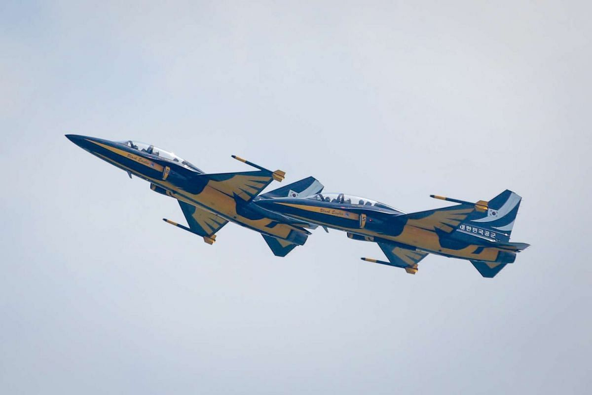 The Black Eagles Aerobatic Team by the Republic of Korea Air Force at the Singapore Airshow 2016 on Feb 14, 2016.