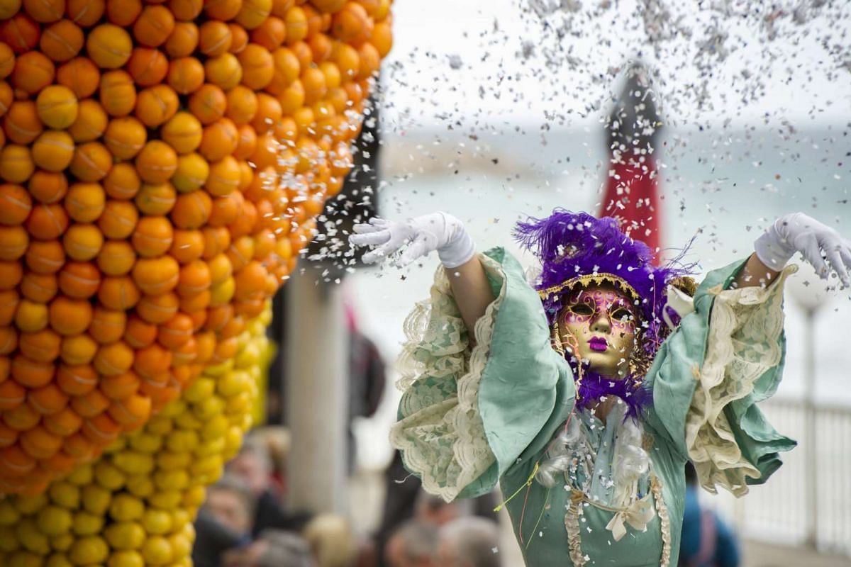 A participant in the parade of the 83rd Lemon Festival in Menton, France, on Feb 14, 2016.
