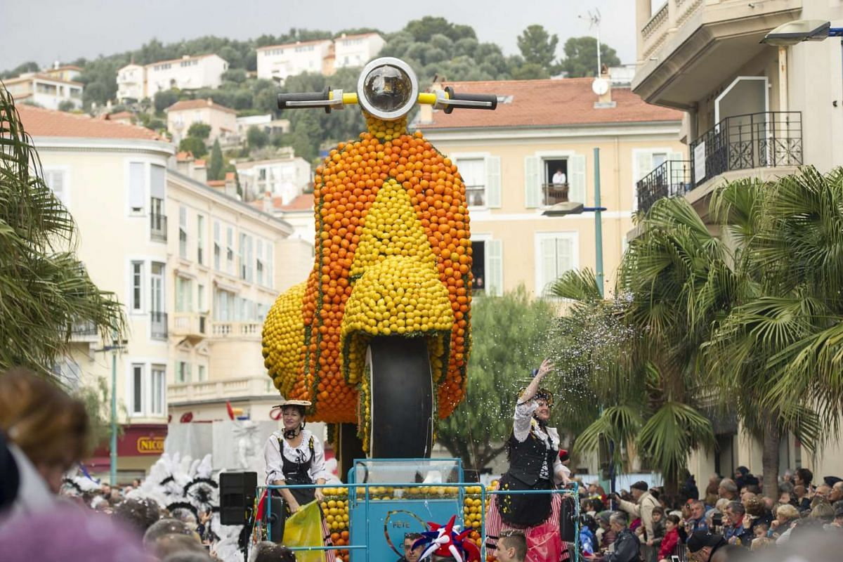 A float made of lemons and oranges in the parade of the 83rd Lemon Festival in Menton, France, on Feb 14, 2016.