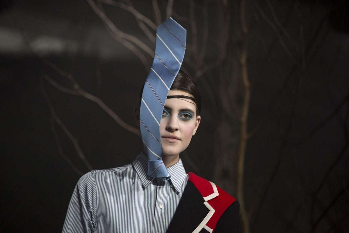 A model presents a creation from the Thom Browne fall 2016 collection at the New York Fall Fashion Week, in New York, Feb 15, 2016. PHOTO: EPA/JOHN TAGGART