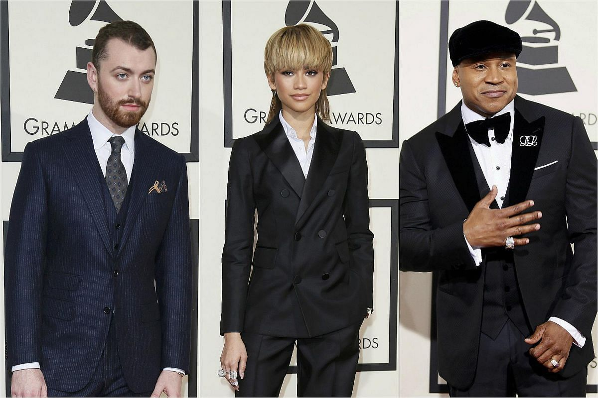 Singers Sam Smith and Zendaya, and host LL Cool J arriving at the 58th Grammy Awards in Los Angeles, California, on Feb 15, 2016.