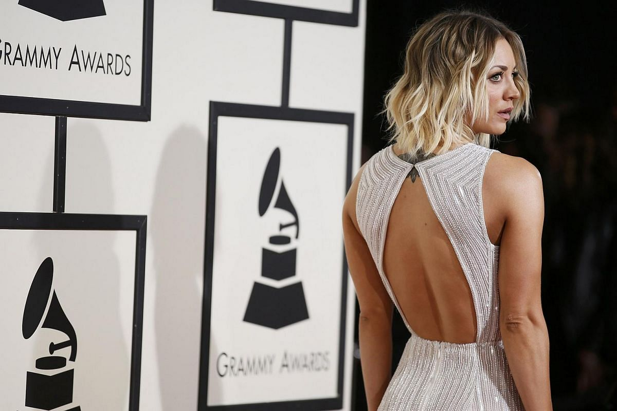 Actress Kaley Cuoco arriving at the 58th Grammy Awards.