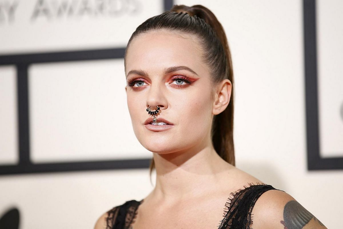 Singer Tove Lo arriving at the 58th Grammy Awards.