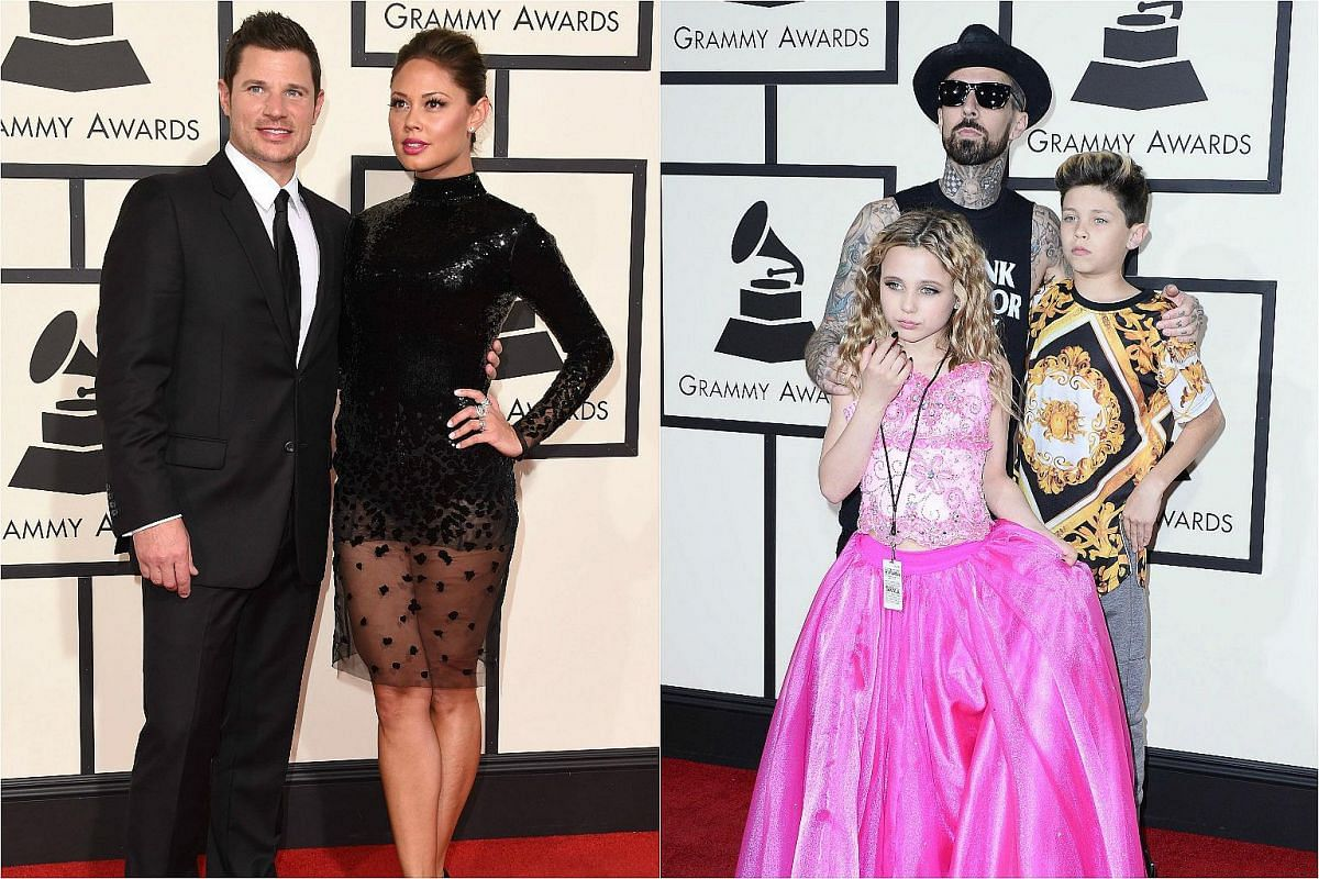 (From left) Nick Lachey with Vanessa Lachey, and Travis Barker (centre) and his children arriving on the red carpet for the 58th Annual Grammy music Awards.