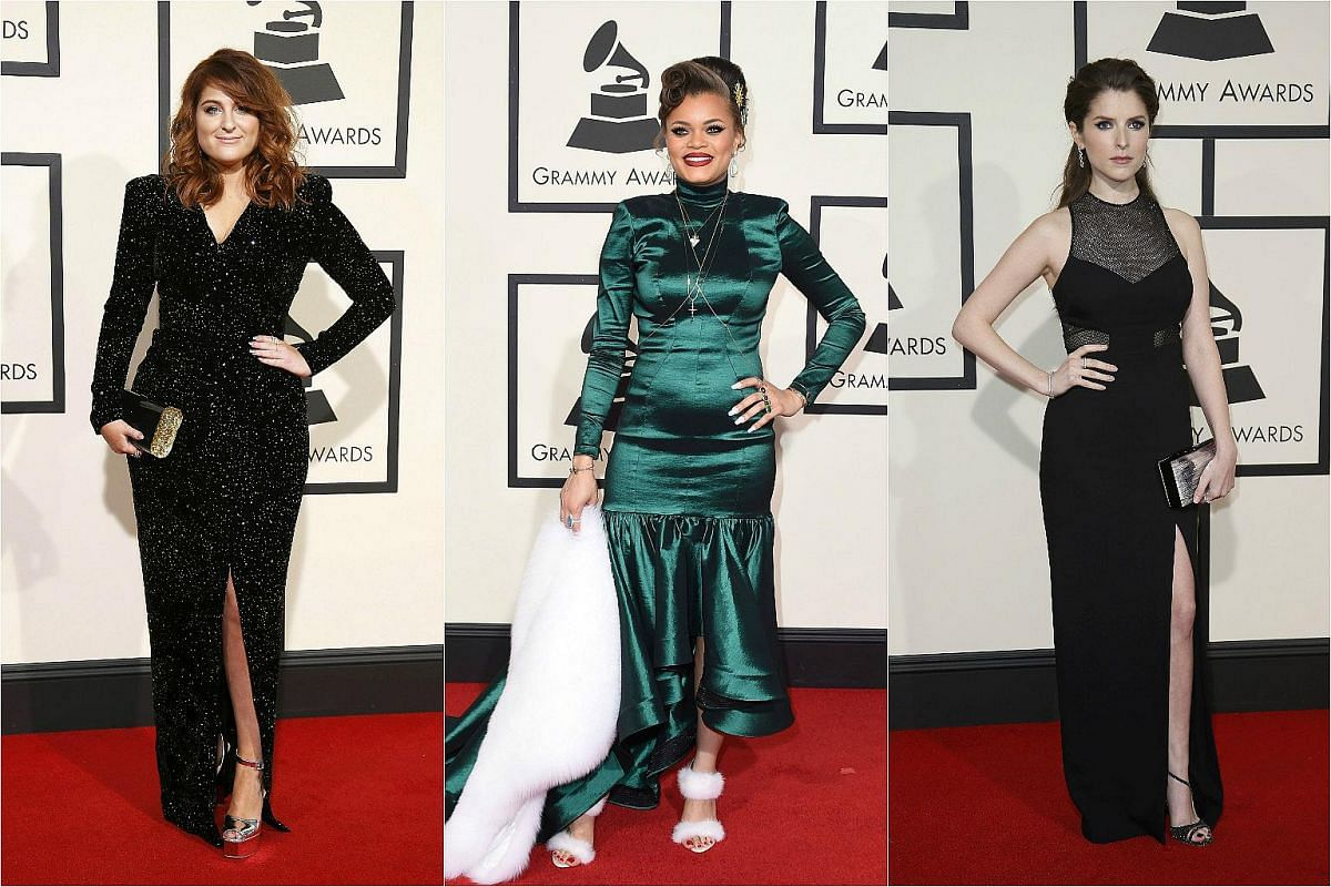 (From left) Singers Meghan Trainor and Andra Day, and actress Anna Kendrick arriving at the 58th Grammy Awards.