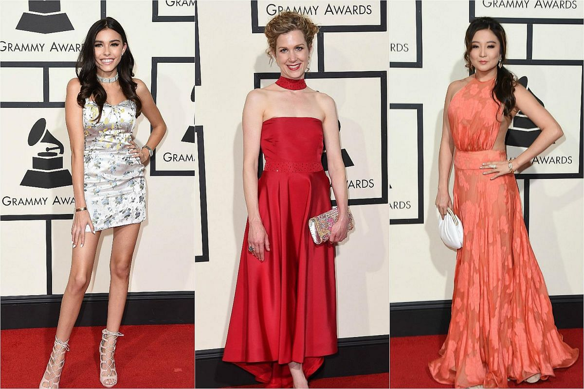 (From left) Madison Beer, Lori Henriques and Ashley Park arriving on the red carpet during the 58th Annual Grammy Music Awards.