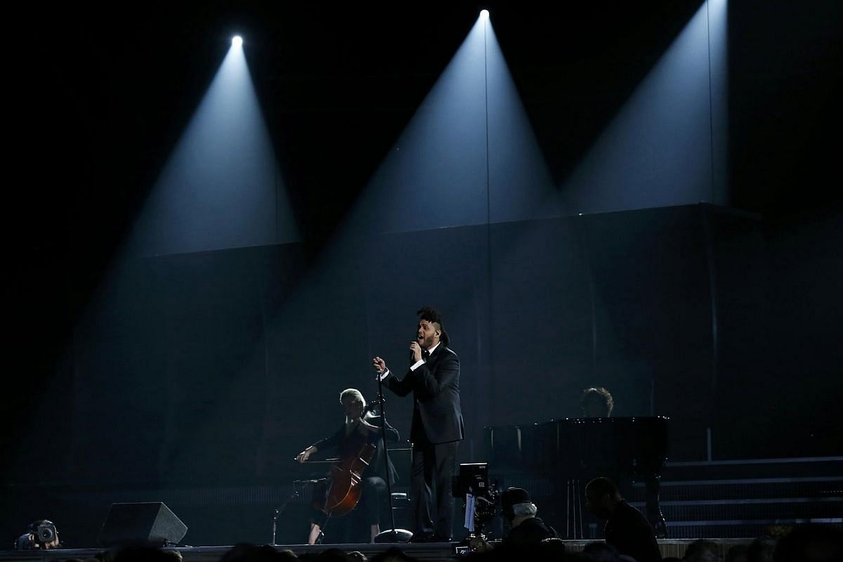 The Weeknd performing In The Night at the 58th Grammy Awards.