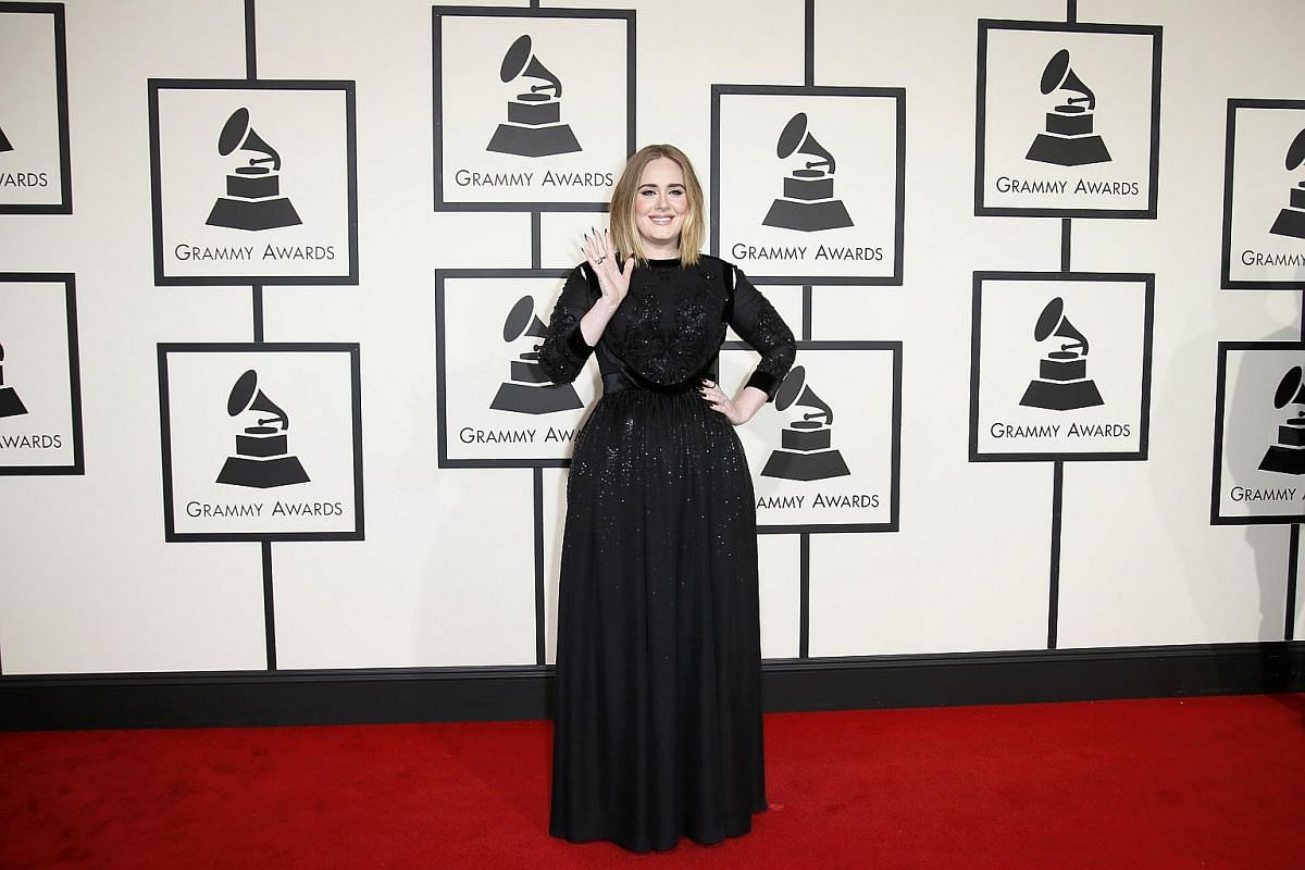 Adele arriving at the 58th Grammy Awards.