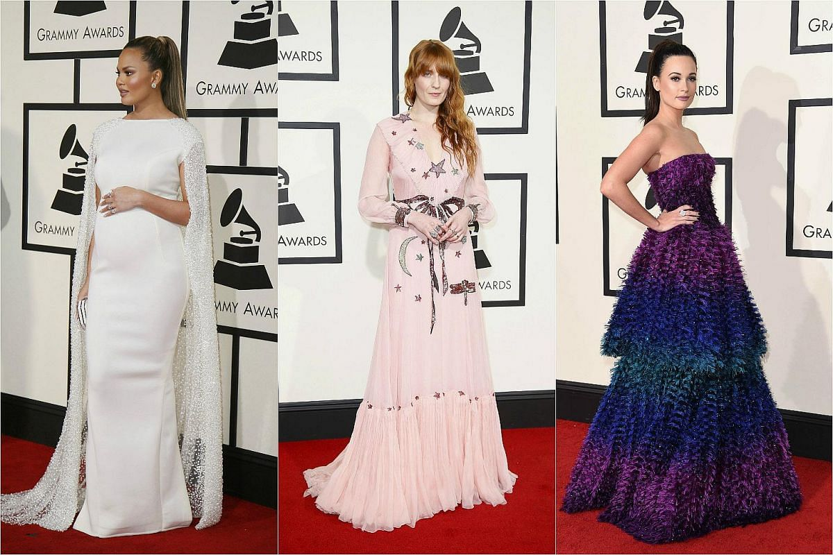 (From left) Model Chrissy Teigen, and singers Florence Welch and Kacey Musgraves arriving at the 58th Grammy Awards on Feb 15, 2016.