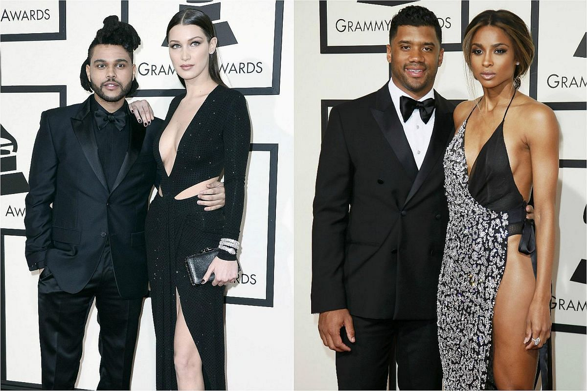 The Weeknd (left) and Bella Hadid, and NFL football player Russell Wilson (second from right) and singer Ciara arriving for the 58th Annual Grammy Awards.