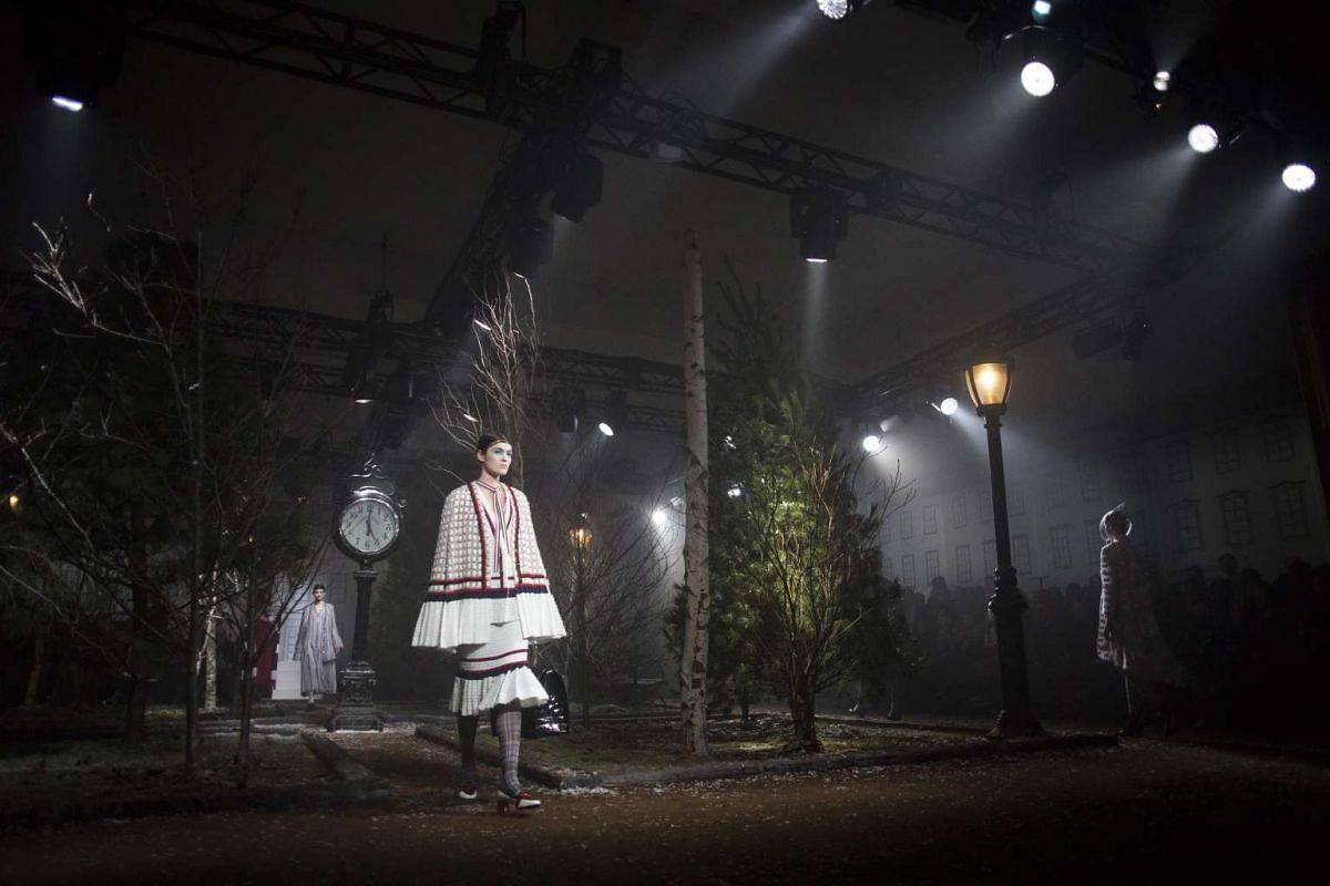 A model presenting a creation from the Thom Browne fall 2016 collection at the New York Fall Fashion Week.