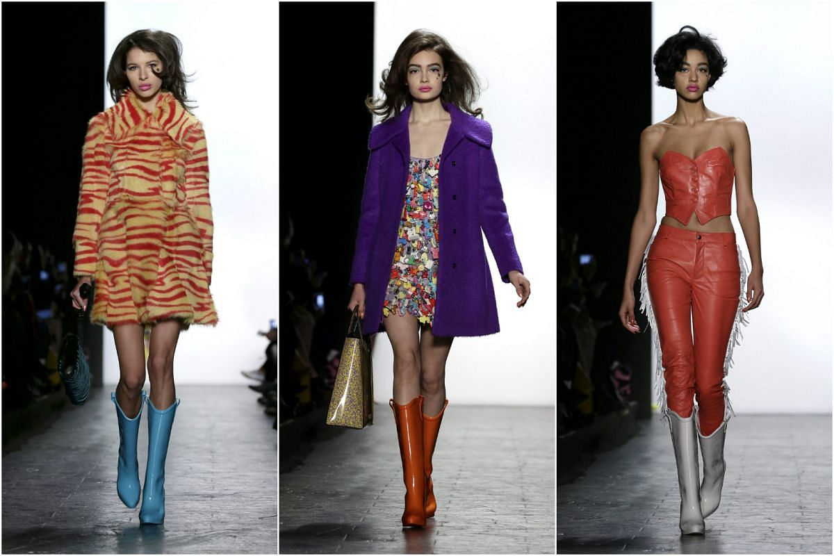 Models walking the runway during the Fall 2016 collection by Jeremy Scott during New York Fall Fashion Week.