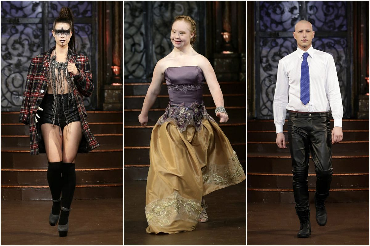 (From left) US amputee model Shaholly Ayers, Australian model Madeline Stuart and cancer survivor, Italian model Fausto Di Pino, presenting creations from the Fall 2016 collection by FTL Moda during the New York Fall Fashion Week6.