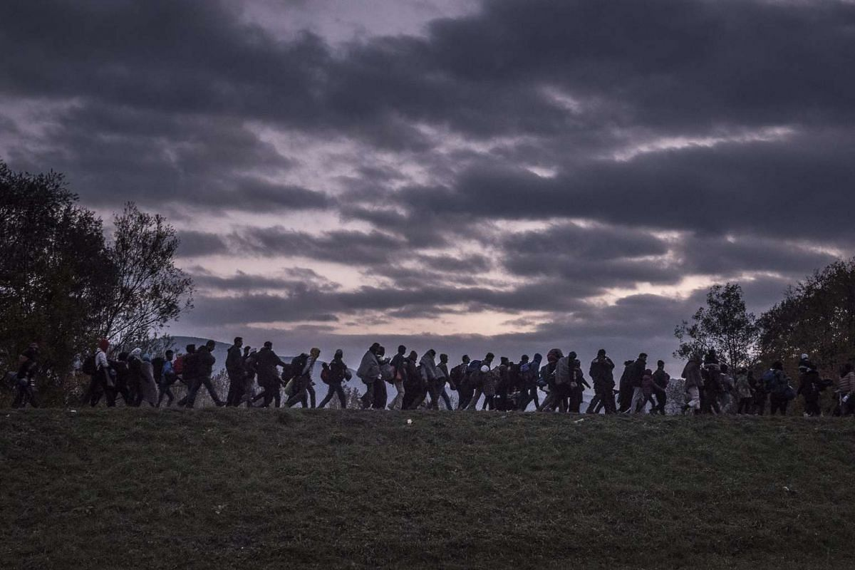 Russian photographer Sergey Ponomarev's photos won first prize for the Stories in the General News category at the 59th annual World Press Photo Contest.This photo shows migrants walking atop a dike as Slovenian riot police escorted them to a registr