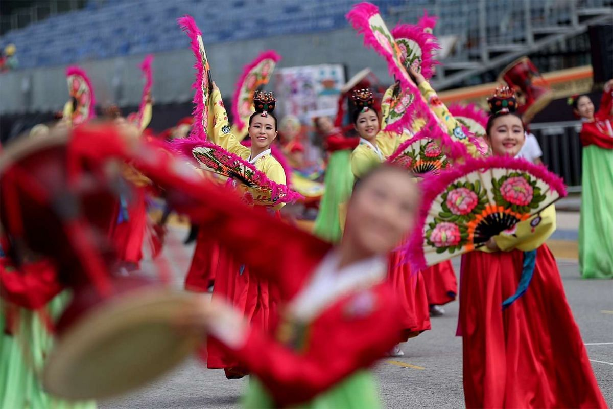 Media preview of the international performing groups at this weekend's Chingay Parade held at the F1 Pit Building on Feb 18, 2016.
