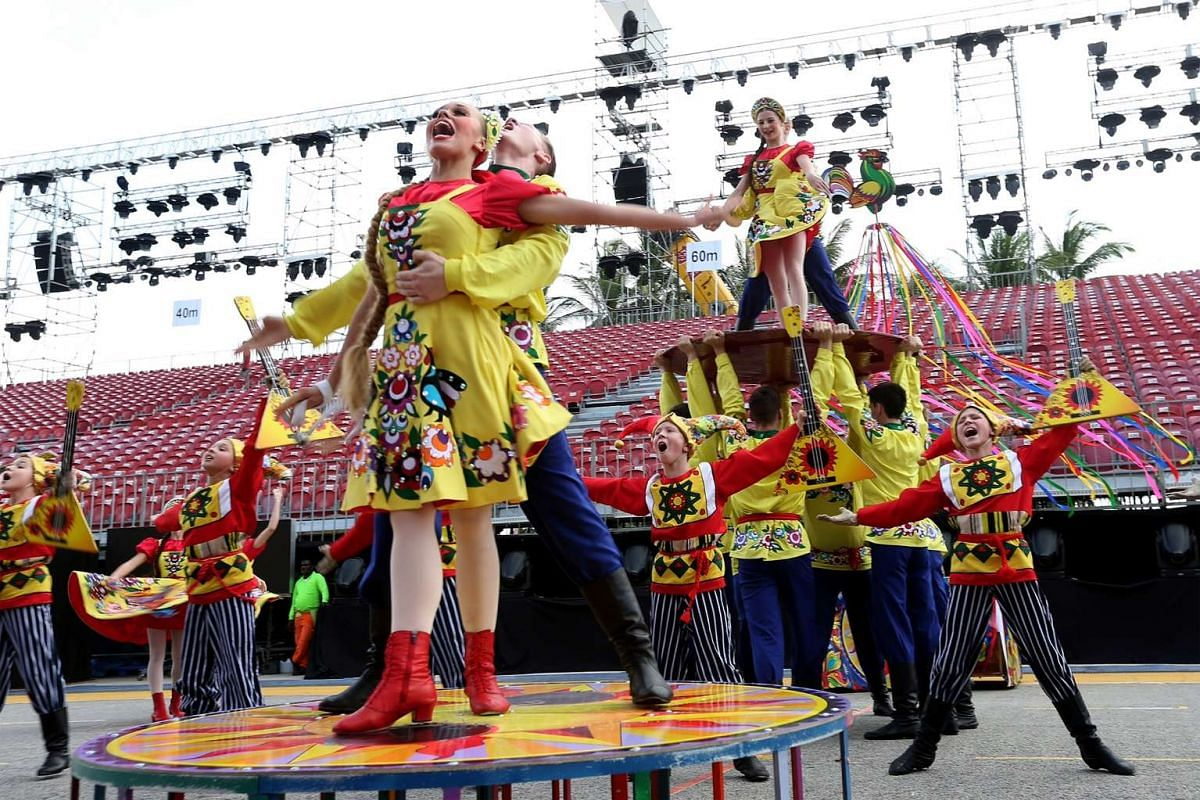 The media preview of the international performing groups at this weekend's Chingay Parade held at the F1 Pit Building on Feb 18, 2016.