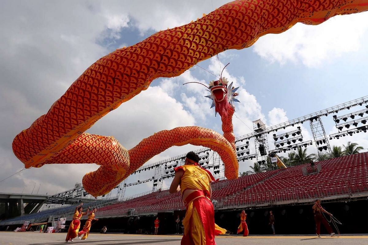 The Shaanxi 66-metre flying LED dragon that will be making its world debut as an international act during Chingay 2016.