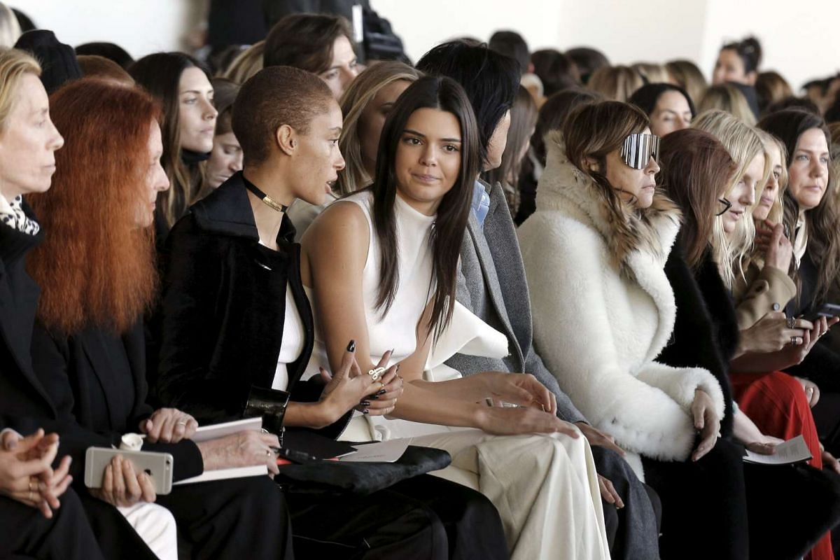Models Adwoa Aboah (third from left) and Kendall Jenner (centre) at the Calvin Klein Fall/Winter 2016 collection, on Feb 18, 2016.
