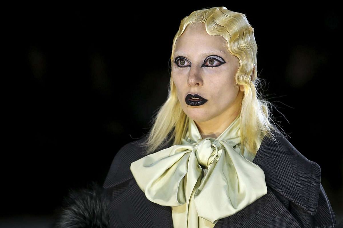 Singer Lady Gaga presents a creation by Marc Jacobs during New York Fashion Week, on Feb 18, 2016.