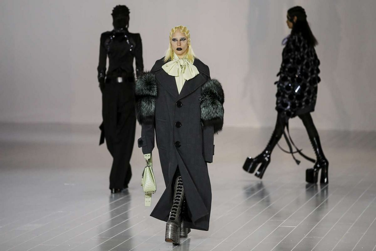 Singer Lady Gaga presents a creation by Marc Jacobs during his Fall/Winter 2016 collection at the New York Fashion Week, on Feb 18, 2016.