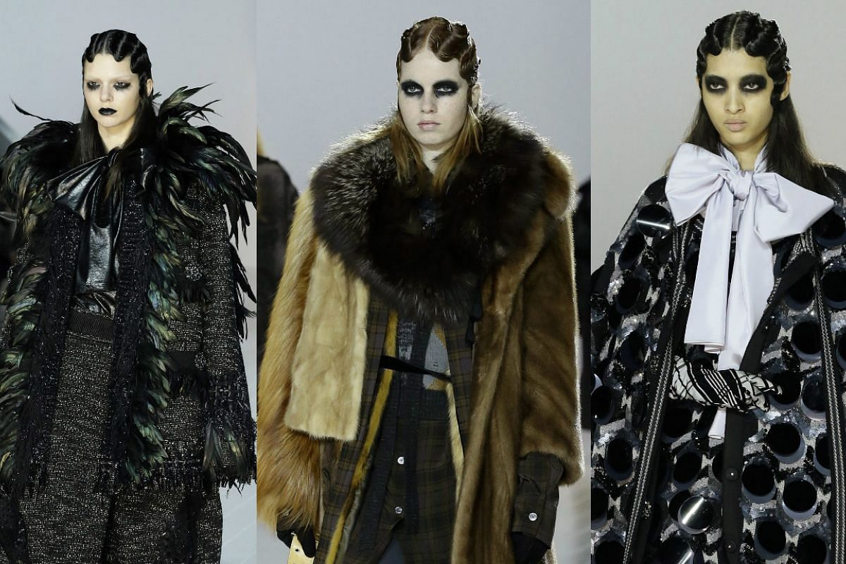 Models present creations by Marc Jacobs at the New York Fashion Week, on Feb 18, 2016.