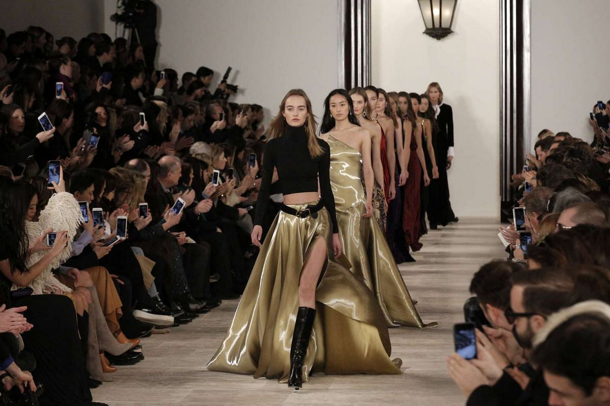 Models present creations by designer Ralph Lauren at the New York Fall Fashion Week, on Feb 17, 2016.