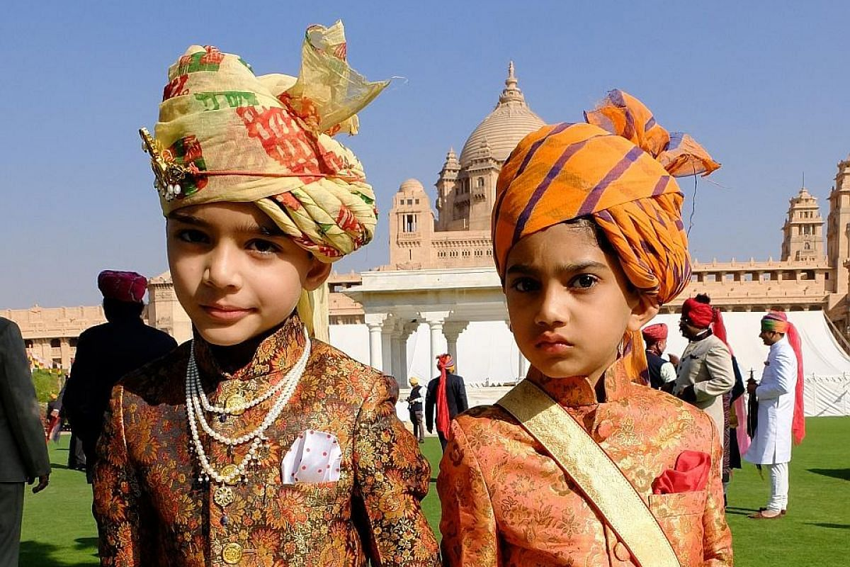 Young Rajasthani princes (left) at the birthday party of the Maharaja of Jodhpur. The magnificent City Palace (above) in Udaipur.