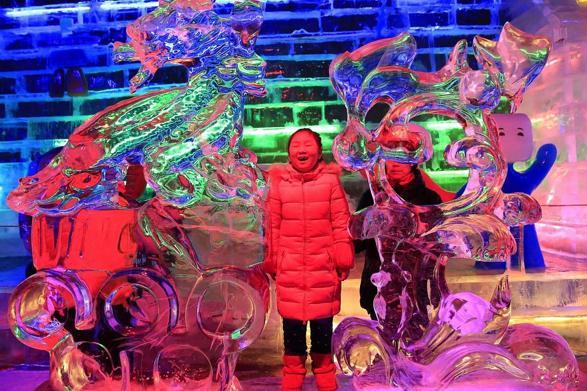 A Chinese girl viewing colourful ice sculptures at Longqingxia Ice Lantern Festival in Yanqing district of Beijing, on Feb 21, 2016.