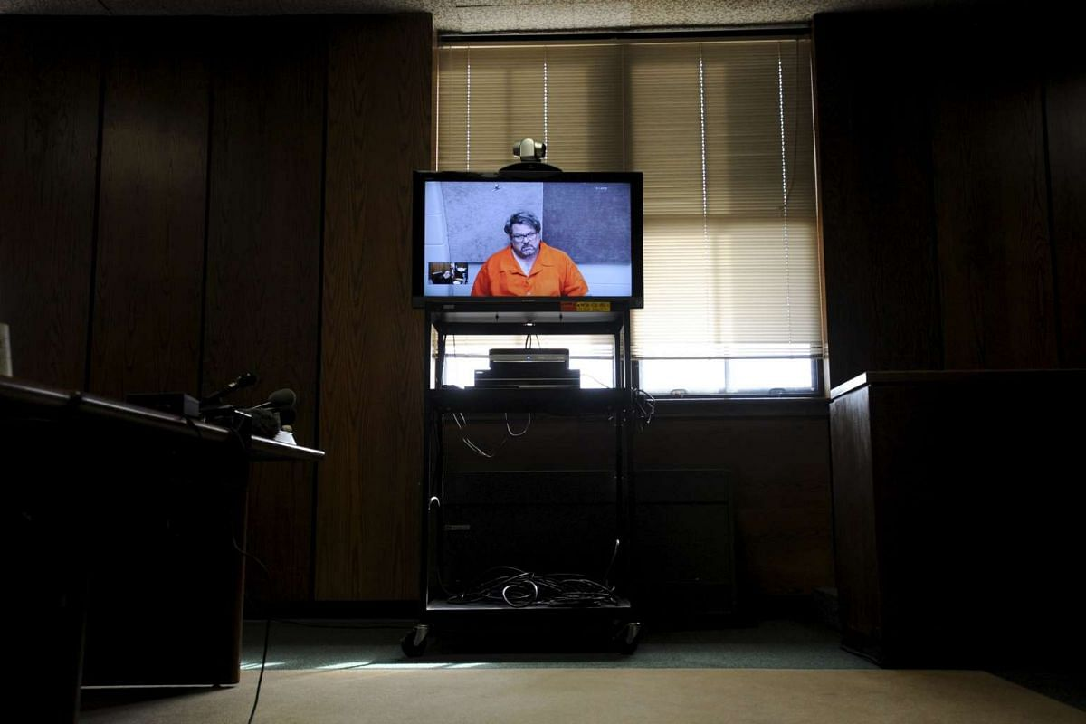 Jason Dalton is seen on closed circuit television during his arraignment in Kalamazoo County, Michigan, Feb 22, 2016. Dalton is suspected of killing six people and wounding two others in apparently random shootings. PHOTO: REUTERS