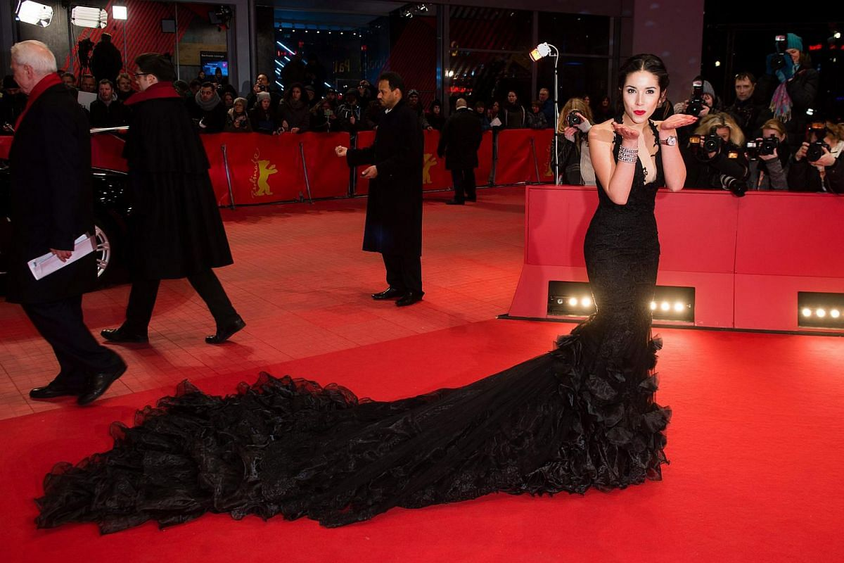 Model Lauriane Sallin arrives for the premiere of Chi-Raq during the 66th annual Berlin International Film Festival.