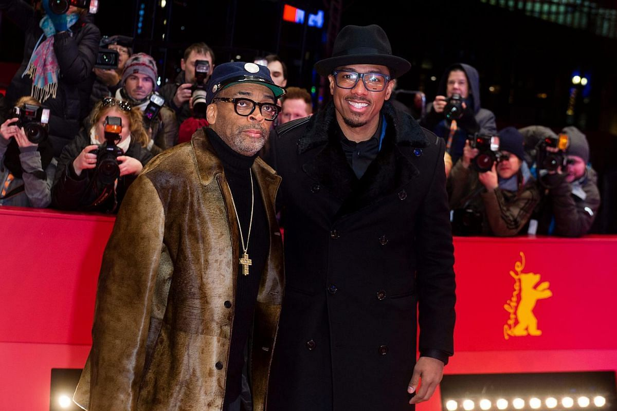 Director Spike Lee (left) and actor Nick Cannon arrive for the premiere of Chi-Raq during the 66th annual Berlin International Film Festival.