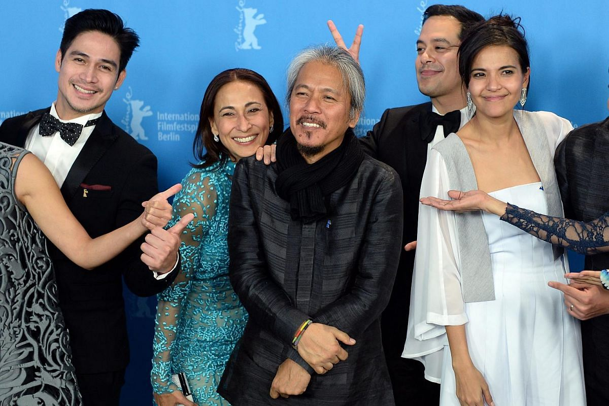 Philippine cast Piolo Pascual (from left), Cherie Gil, director Lav Diaz, John Lloyd Cruz and Alessandra De Rossi pose during a photocall for Hele Sa Hiwagang Hapis (A Lullaby To The Sorrowful Mystery) at the 66th annual Berlin International Film Fes