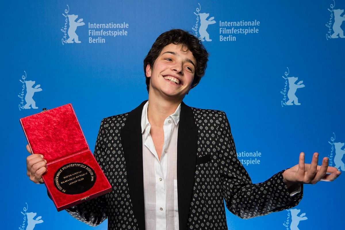 Winner of the Golden Bear for Best Short Film, director Leonor Teles for Balada de um Batraquio poses in the press room during the Closing and Awards Ceremony of the 66th annual Berlin International Film Festival.