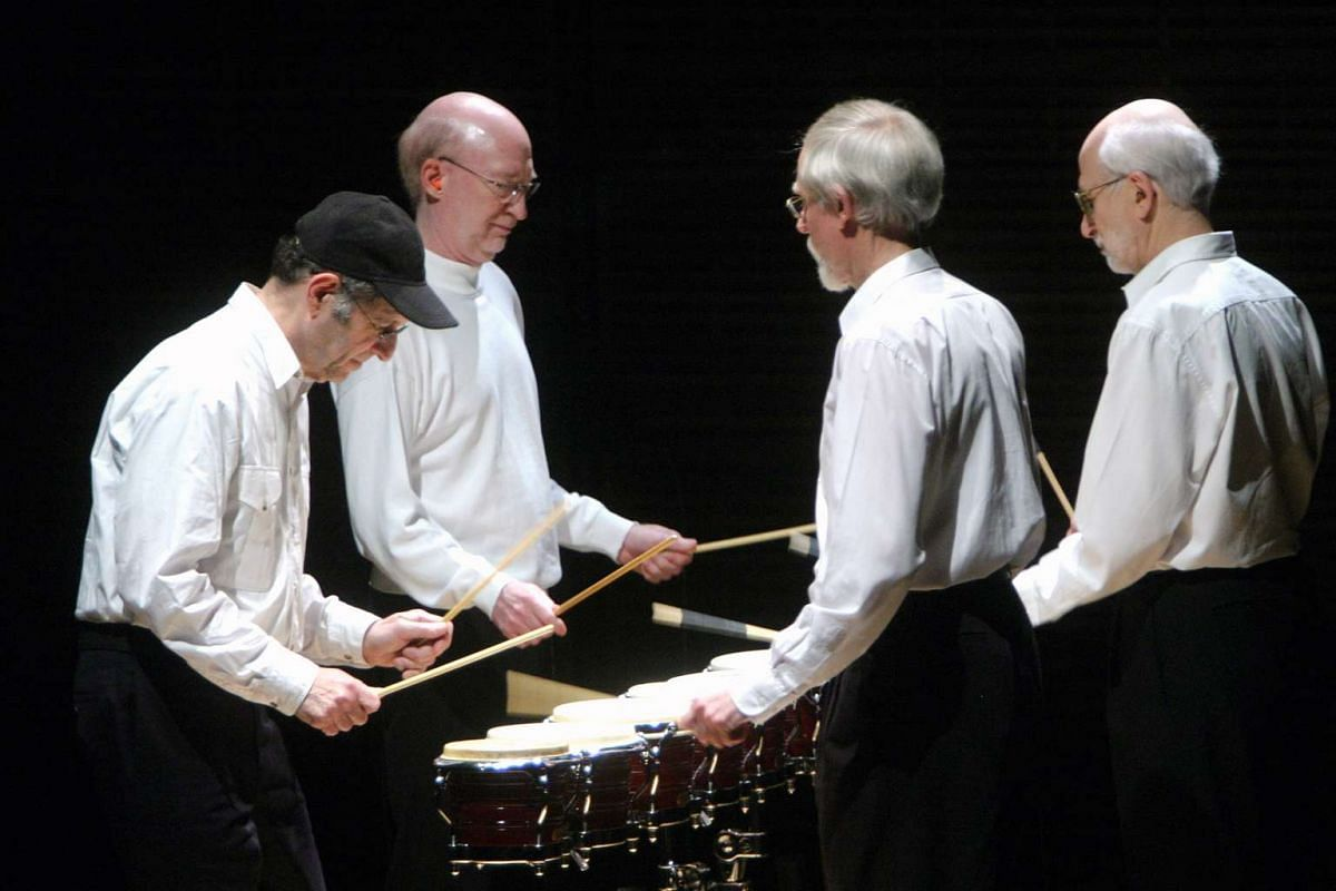 American composer Steve Reich (left) performing his 1970-1971 work Drumming with his ensemble in New York.