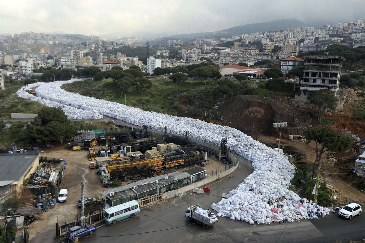 A view of packed garbage bags in Jdeideh, Beirut, Lebanon Feb 23, 2016. Six months ago, the authorities shut the main landfill site for garbage from the capital, without providing an alternative. Since then, rubbish collection has halted and festerin