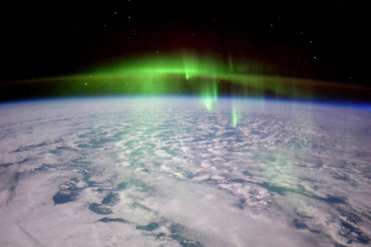 A glowing aurora photo taken by Expedition 46 flight engineer Tim Peake of the European Space Agency (ESA) from the International Space Station on Feb 23, 2016, is shown in this image released on Feb 24, 2016. PHOTO: REUTERS/TIM PEAKE/ESA/NASA/HANDOU
