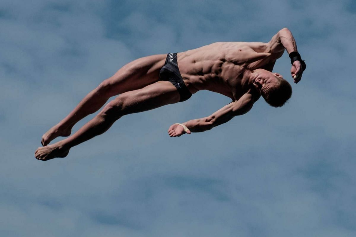 Steele Johnson of the US dives during the men's 10m platform final of the Fina World Cup 2016 test event of the Rio 2016 Olympic Games at the Maria Lenk Aquatics Centre in Rio de Janeiro, Brazil, on Feb 24, 2016. PHOTO: AFP/YASUYOSHI CHIBA