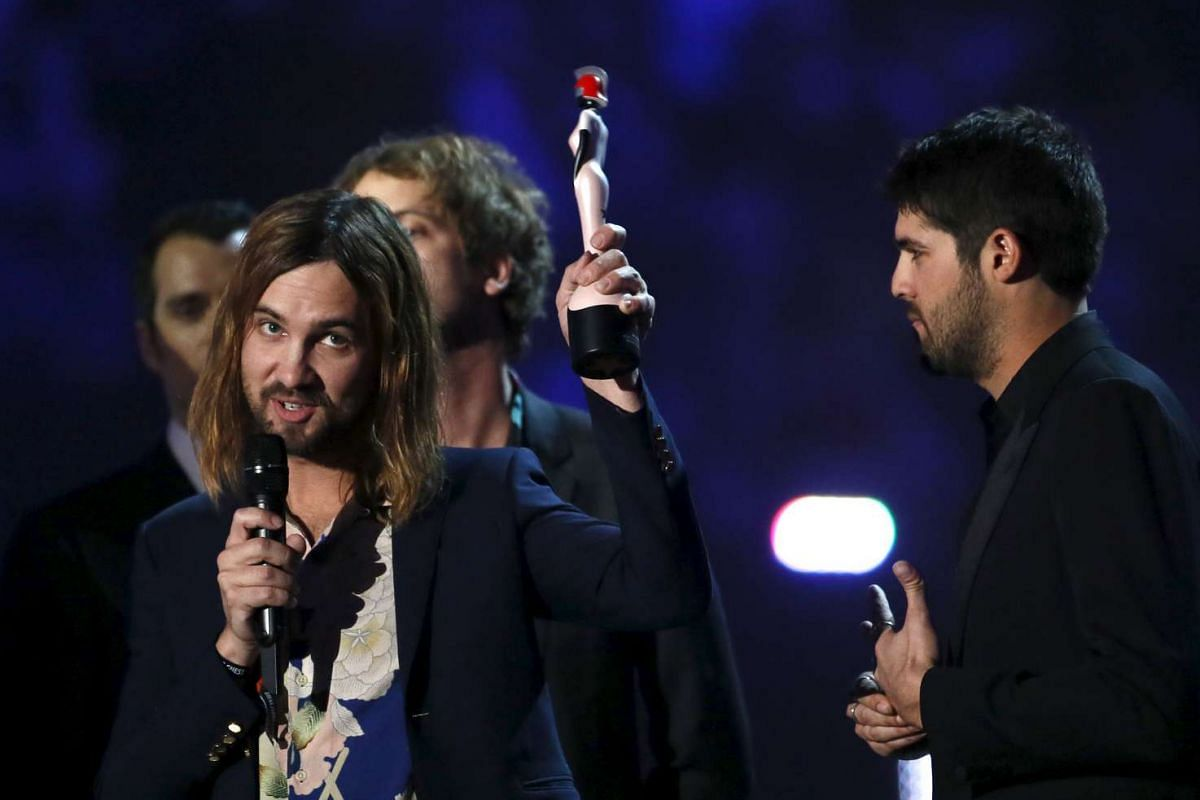 Kevin Parker of Tame Impala speaking as the band receives Best International Group award.