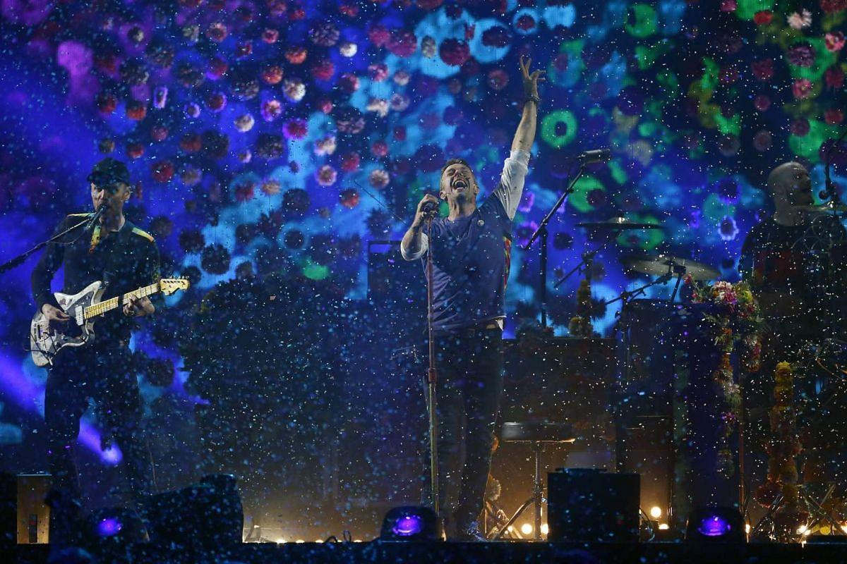 British band Coldplay performing at the Brit Awards.
