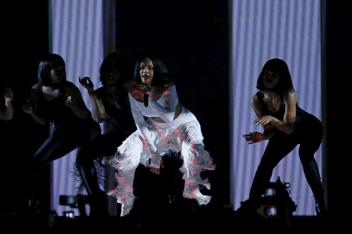 Singer Rihanna performing at the Brit Awards.