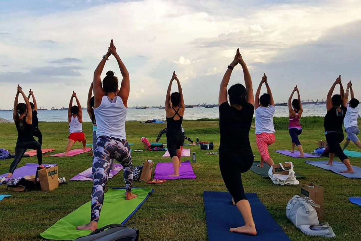 Fitness lovers can take part in mass outdoor yoga in the Civic District.
