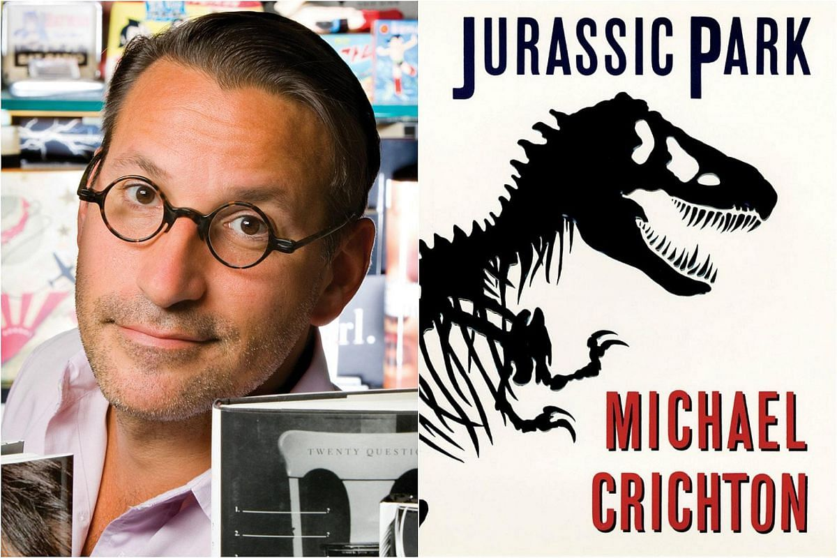 A diagram of a Tyrannosaurus Rex skeleton from a book on dinosaurs (right) inspired Chip Kidd's (left) cover for Michael Crichton's Jurassic Park.