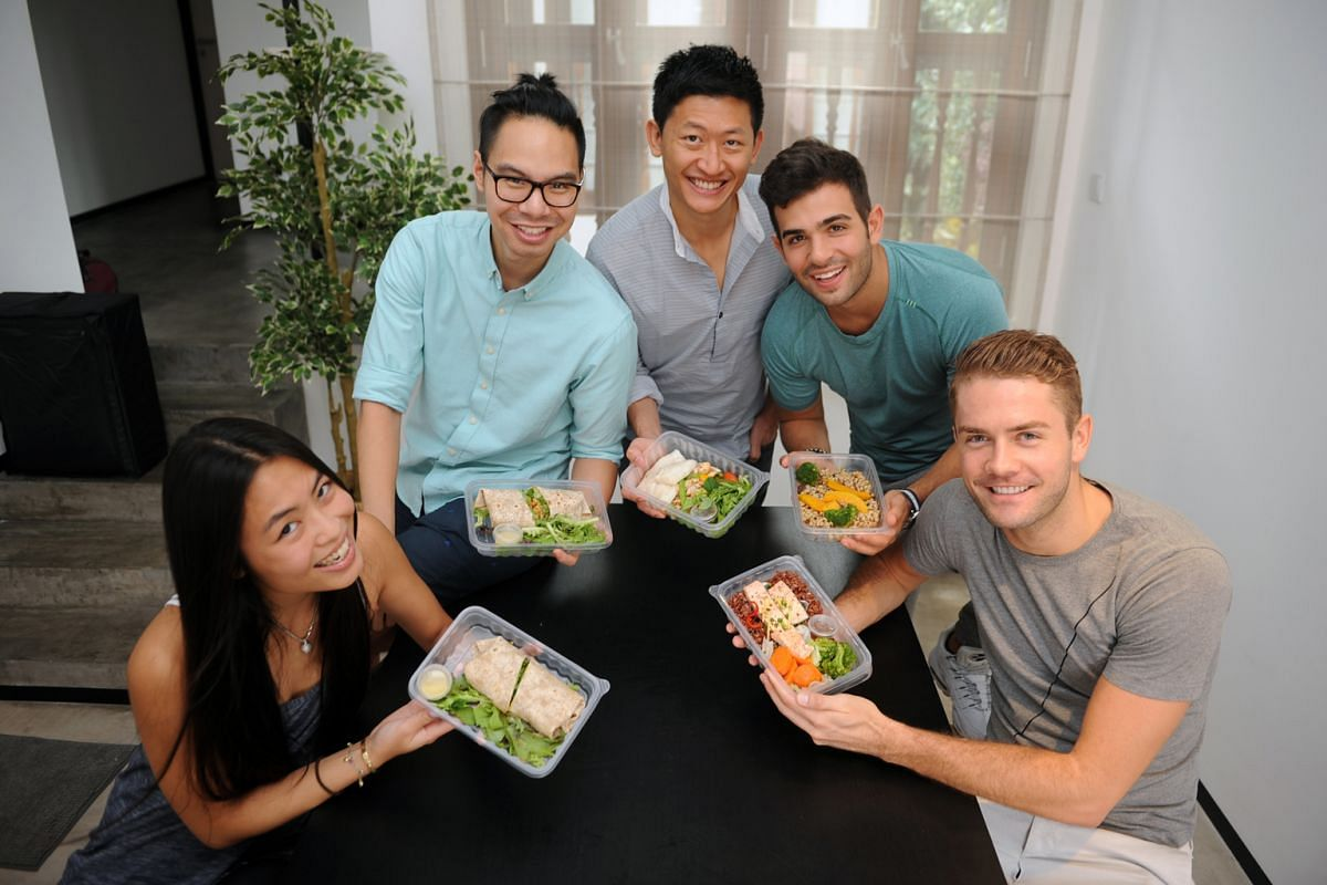 Guavapass general manager Rhyce Lein (right) got his colleagues (from left) Mel Eng, Justin Louie, Jeffrey Liu and Rob Pachter to join him in subscribing to delivery service FoodMatters for their lunches.
