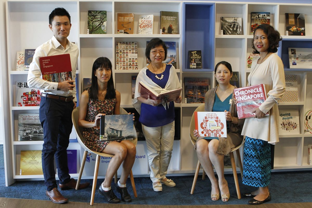 Part of the National Library Board team behind the SG50 Gift Of Books project: (from left) Mr Luke Chua, Ms Janice Ow, Ms Karen Hing, Ms Michelle Lau from international relations and development, and Ms Norlin Naim from corporate social responsibilit