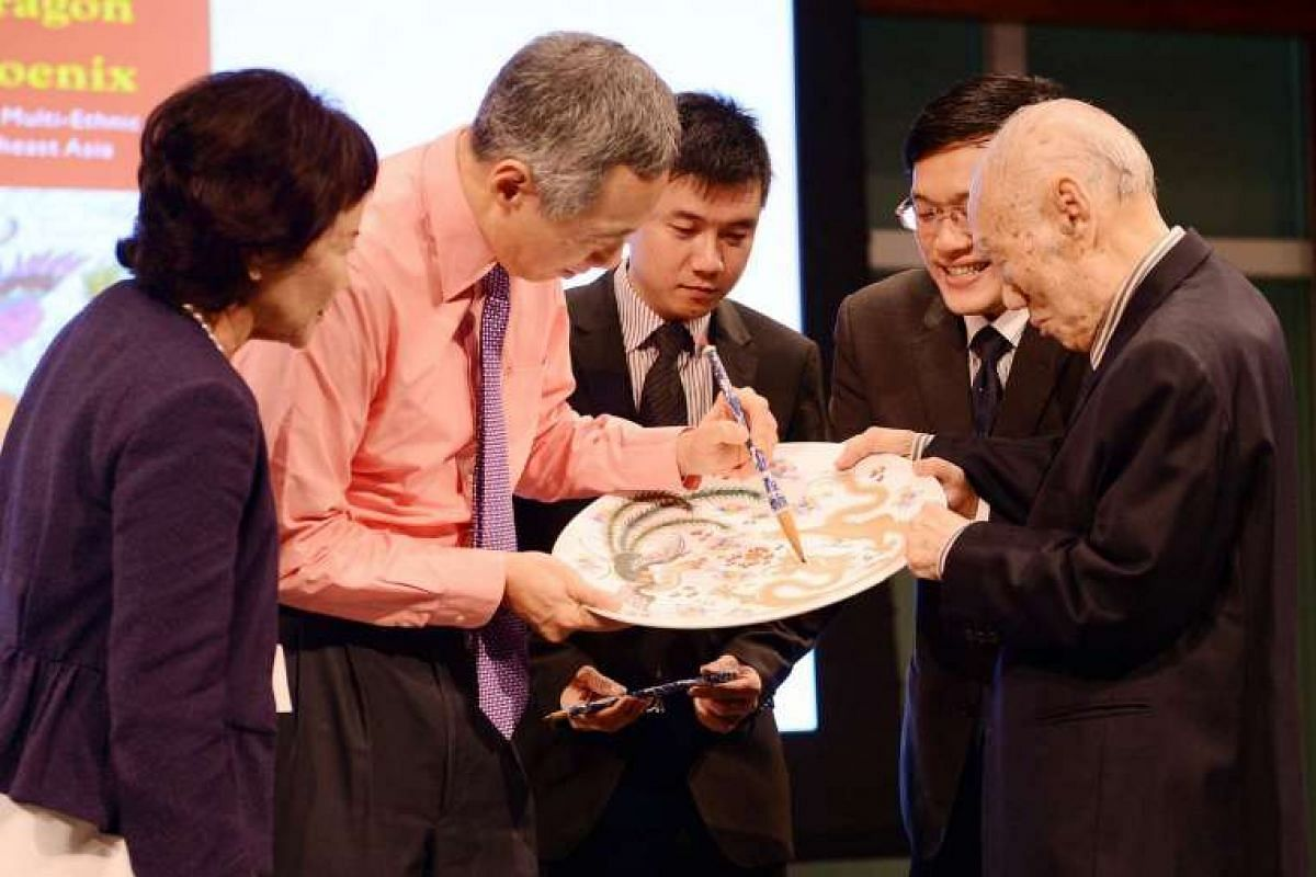 Prime Minister Lee Hsien Loong at the launch of Mr Lee Khoon Choy's book in July 2013.