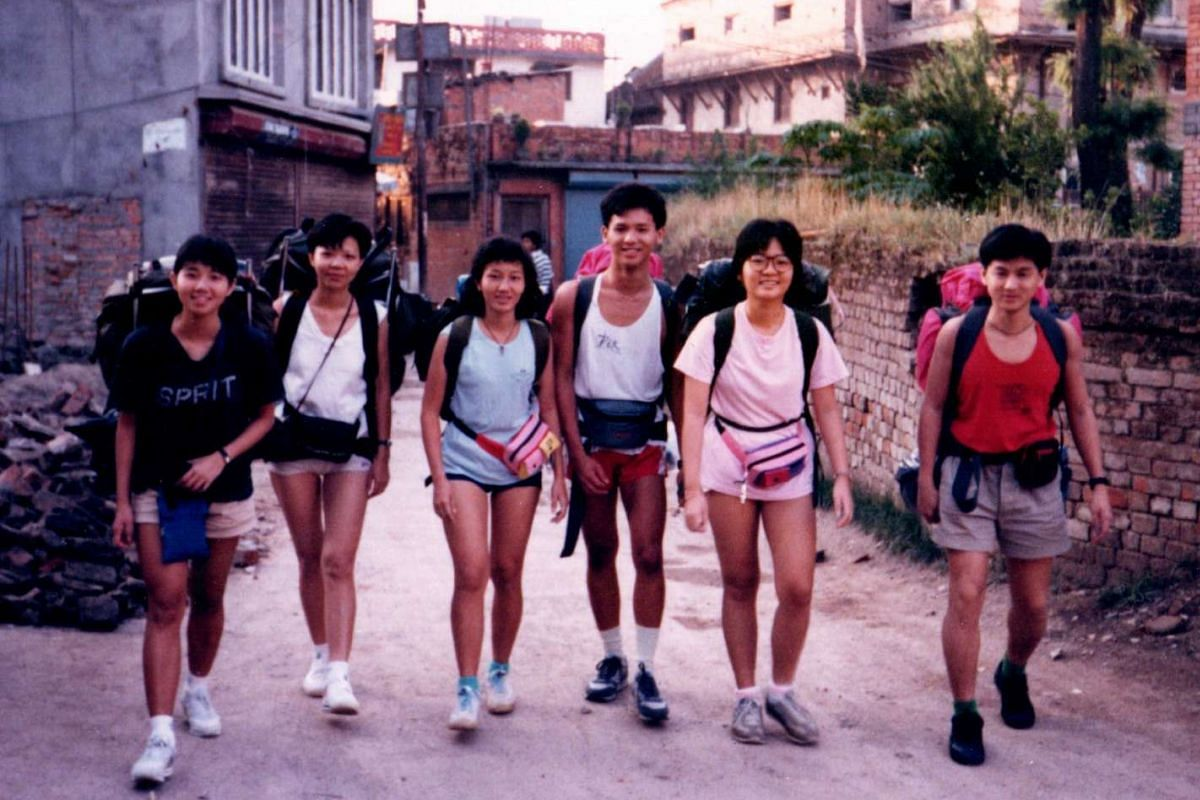 My life so far: Mr Chang Theng Hwee (third from right) in Kathmandu with his university friends and girlfriend, now wife Tan Siew Yim (second from right) in 1987.