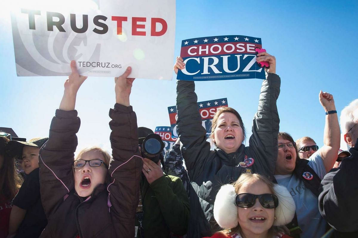 Fans of Republican candidates Marco Rubio, Donald Trump and Ted Cruz (above) will be going all out to show support for their candidate of choice as the race heats up in the days before voting on Super Tuesday. Meanwhile, the candidates themselves hav