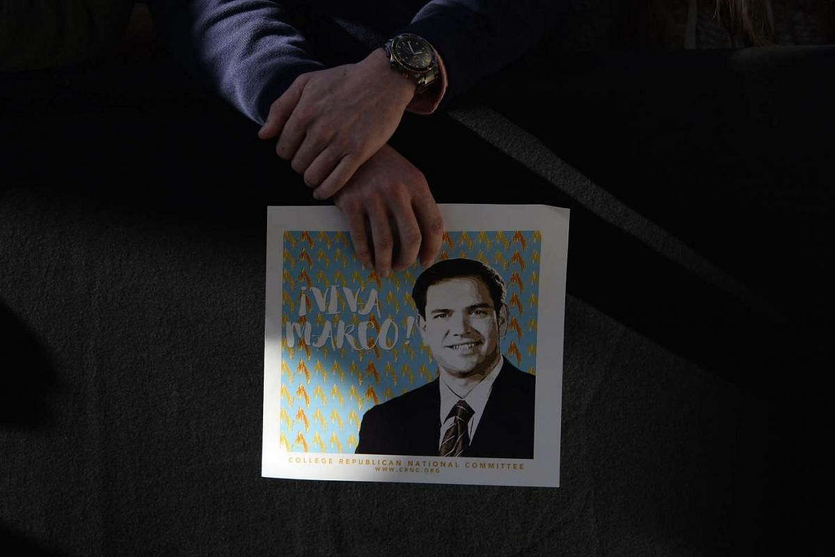 Fans of Republican candidates Marco Rubio (above), Donald Trump and Ted Cruz will be going all out to show support for their candidate of choice as the race heats up in the days before voting on Super Tuesday. Meanwhile, the candidates themselves hav