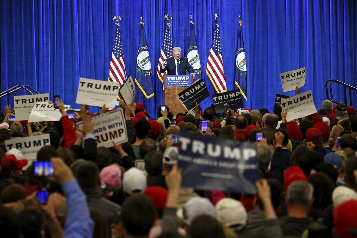 Republican US presidential candidate Donald Trump speaking to supporters at a Super Tuesday campaign rally in Louisville, Kentucky, on March 1, 2016.