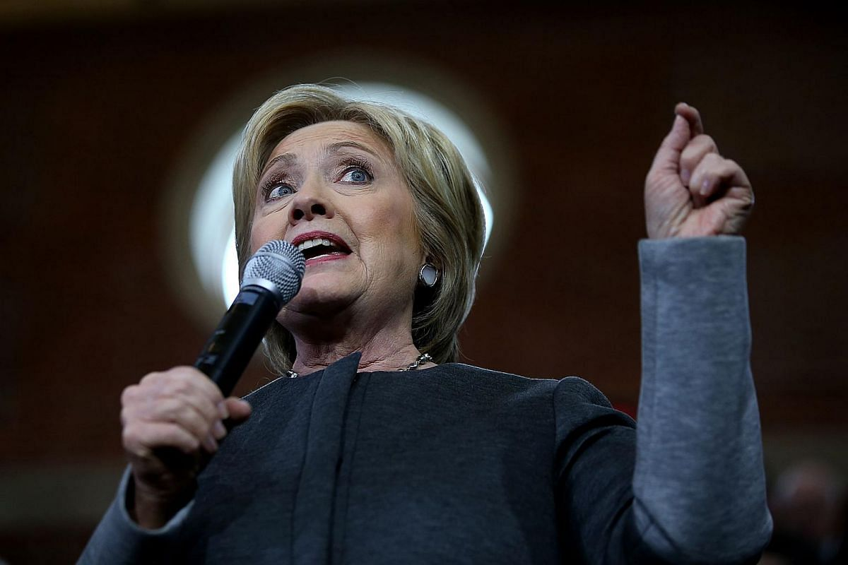 US Democratic presidential candidate Hillary Clinton speaking during a Get Out The Vote rally at the Lyman & Merrie Wood Museum of Springfield History on Feb 29, 2016.